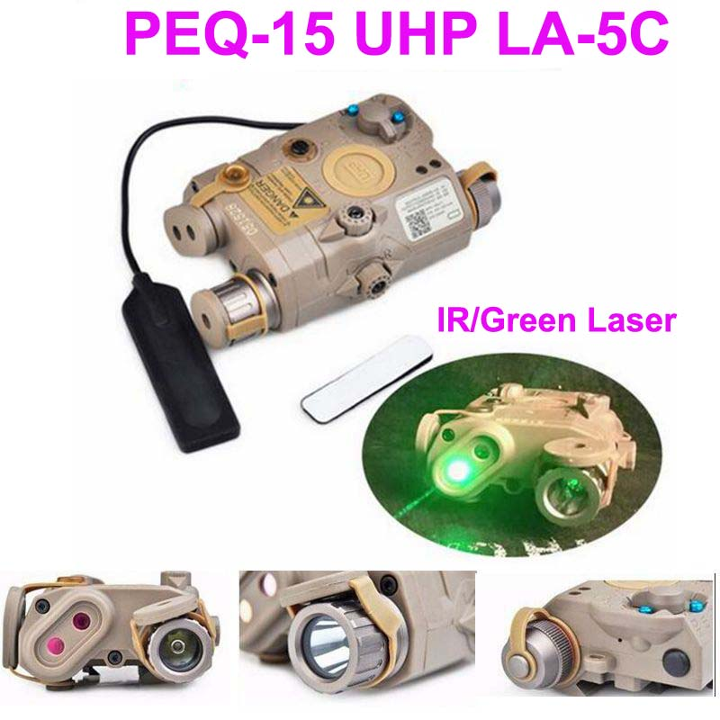 Hunting Airsoft Hunting Flashlight SF PEQ LA-5C UHP Green and IR Laser Tactical Rifle Lights Green Flashlights element ex419 la 5c uhp battery case green dot laser ir lens tactical led flashlight airsoft hunting gun shotgun laser battery
