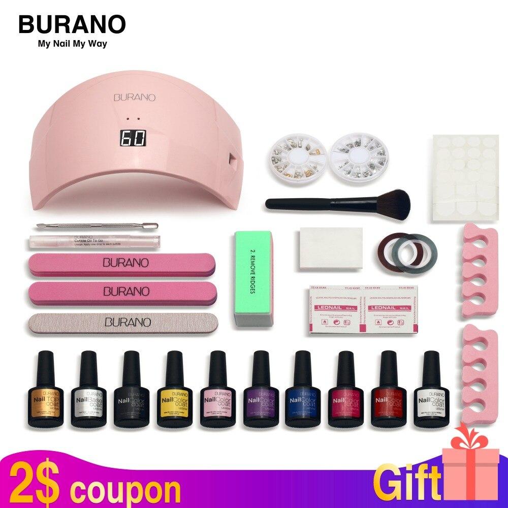 Nail kit Burano gel vernis à ongles set manucure set nail kit polonais uv gel nail art tools sets kits choisir 8 couleurs