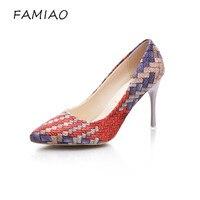 FAMIAO 2017 High Heels Shoes Shallow Pointed Toe Fashion Shoes Party Women Pumps Four Seasons Women