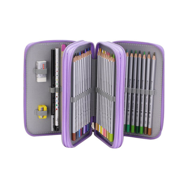 Korean Penal School Pencil Case Kawaii 36/48/72 Holes Pencilcase For Boys Girls Large Pen Bag Box Multifunction Stationery Pouch