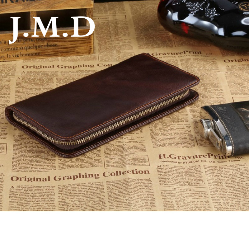 7c06c6e17 J.m.d 2017 nueva Classic café vintage de cuero real Moda funcional  organizador hombres embrague cartera bolso de mano monederos 8022