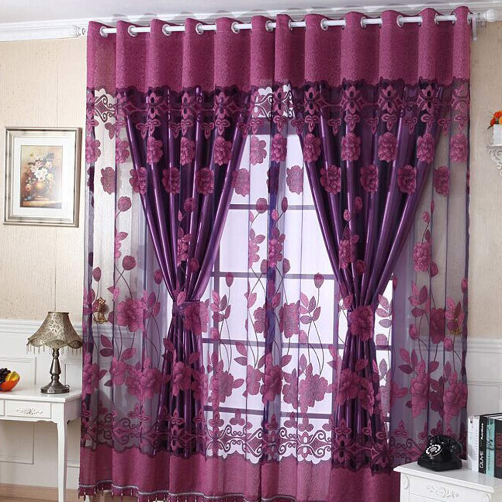 Print Floral Voil Window Chemical Tulle Modern Panel Curtains Room Divider Treatment Voile Drape Valance Panel Fabric 10May 7