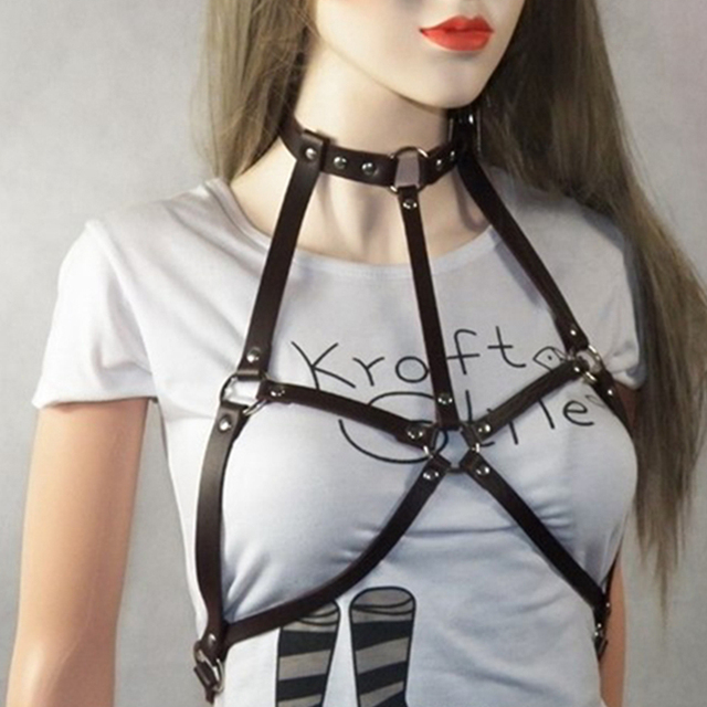 409e165548f Gothic Suspender Women Leather Harness Sexy Punk Cross Sculpting Body Waist  Belt 100% handmade female belts harajuku harness