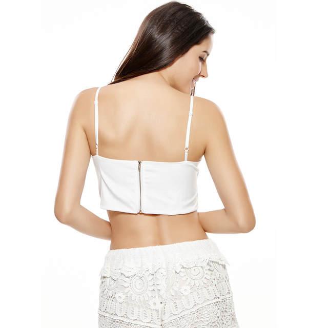 00ca6950f87fc4 Online Shop ANSELF Sexy Women Lace Crop Top Back Zip Crochet Deep V Neck Spaghetti  Strap Bralette Top Zip Back Camisole Low Cut Tank Tops