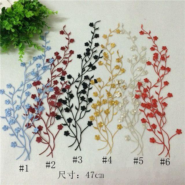 Aliexpress Com Kup P080 1 Pc Duza Plum Kwiaty Naszywki Haftowane
