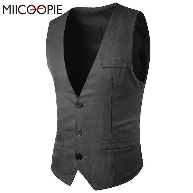 2017 Neue Mode Einreiher Anzug Weste Männer Nehmen Solide Sleeveless Baumwolle Weste Männlichen Kleid Weste Chaleco Hombre