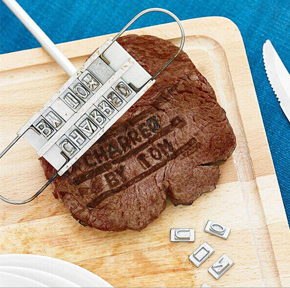 6 sets BBQ Meat Branding iron with changeable letters Personality Steak Meat Barbecue BBQ Tool Changeable 55 Letters