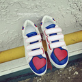 Love Heart Patchwork Women Shoes Casual Flats White Blue Red Rivets Zapatos Mujer Daily Slip On Shoes Platform Muffin Bottoms