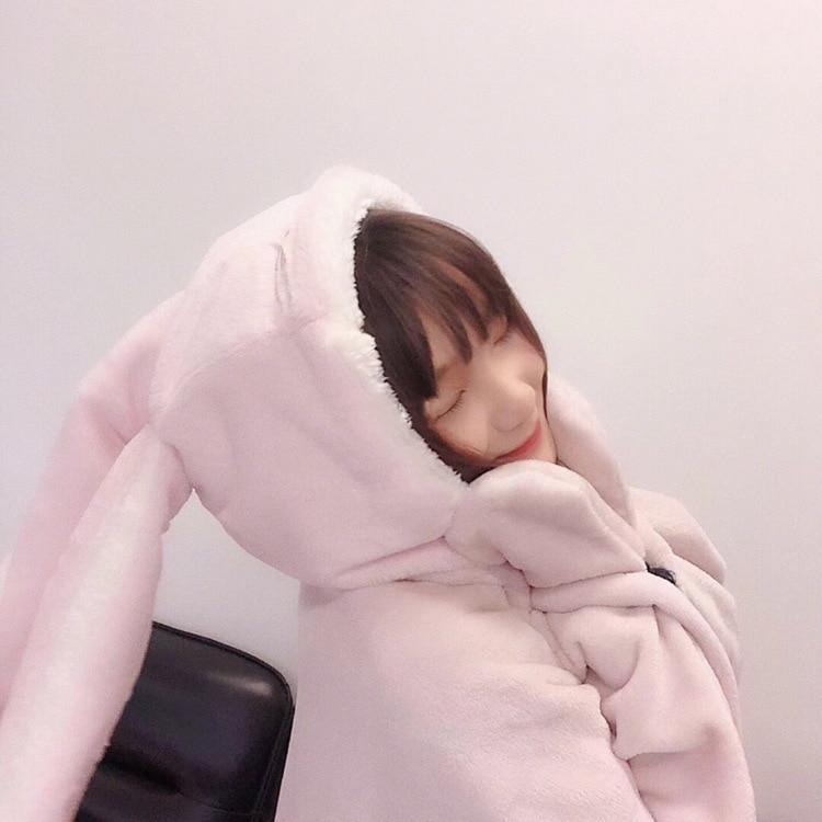 Cute Pink Comfy Blanket Sweatshirt Winter Warm Adults and Children Rabbit Ear Hooded Fleece Blanket Sleepwear Huge Bed Blankets 67