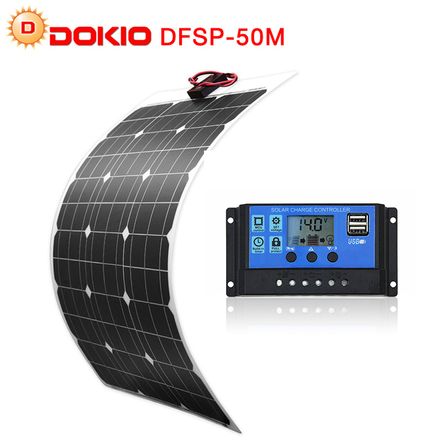 DOKIO Brand Solar Battery 50W Flexible Solar Panel 50W 12V 24v Controller +10A Solar System Kits for Fishing Boat Camping/car