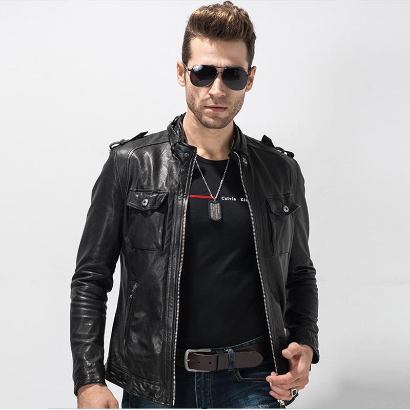Men's Leather Jacket Motorcycle Jacket Black Punk Bikers Coat Short Motorcycle Genuine Leather Outerwear Slim And Cool