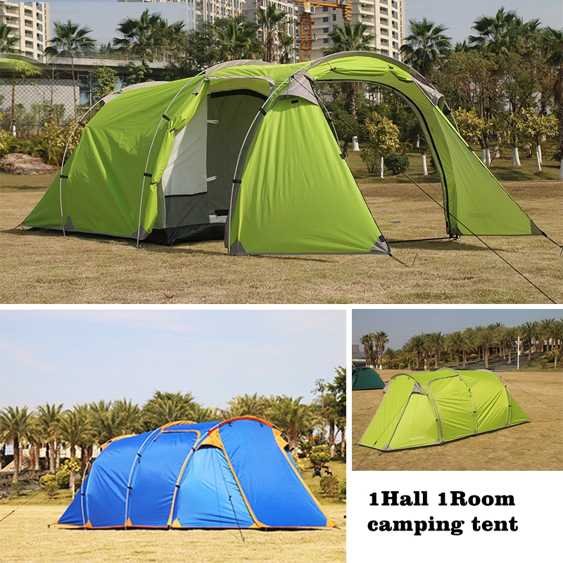 Tunnel 440X180X130CM Outdoor 3-4persons Camping tent one bedroom & one living Room Double Layer Tunnel Large Family Party tent hillman 4 person camping tent with snow skirt double layer aluminum rod large tent one living room one bedroom family waterproof
