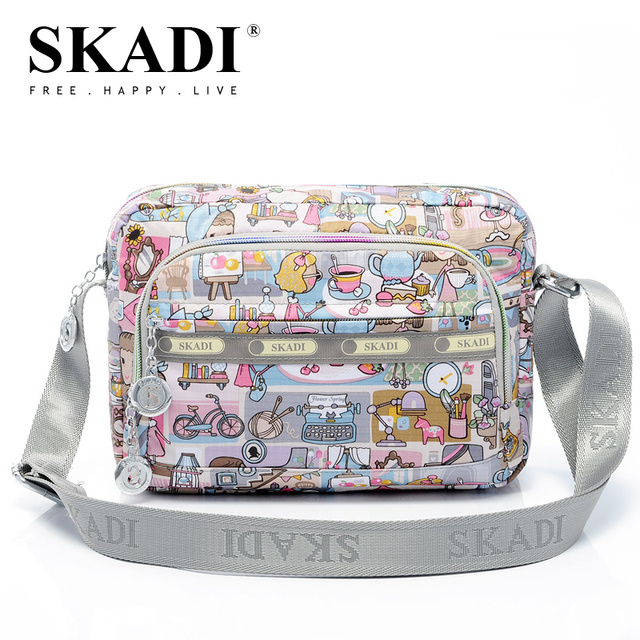 SKADI Casual fashion 2018 women's multi-pocket women's horizontal small women's handbag messenger bag