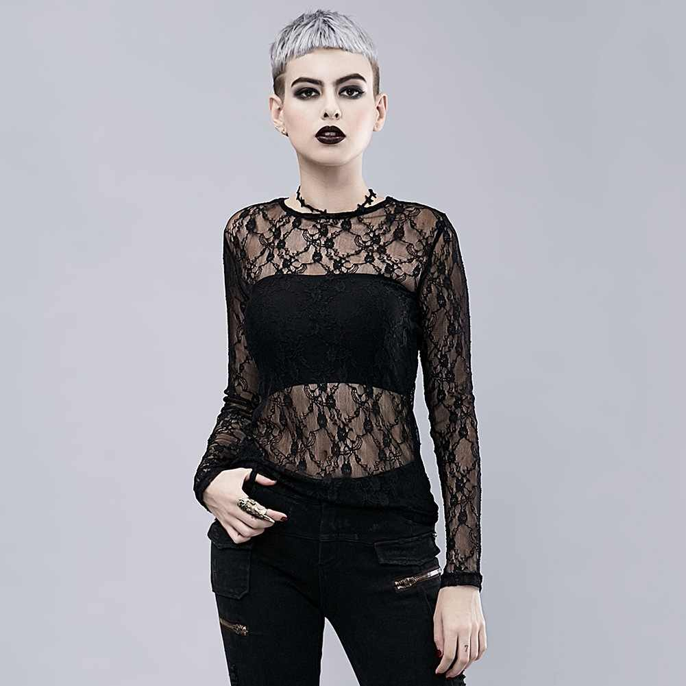 Mode Donkere Zware Steampunk Straat T-Shirt Gothic Black Lace Transparante Lange Mouwen Stretch T-shirt Tops