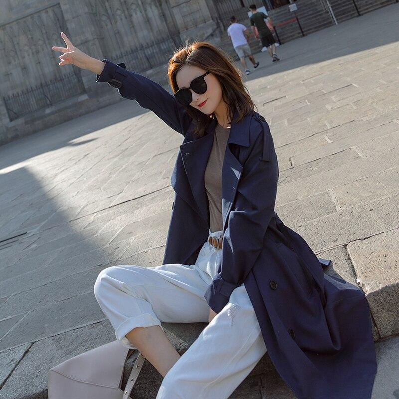 navy Solide Breasted Double Moyen vent Trench Femme Casual Blue Automne long Sky Mince Printemps Coat Coupe Avec Ceinture Manteau Blue Mode Femmes Outwear De qPznvxB
