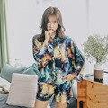 Dames Pyjama Set Zomer Nieuwe Koreaanse Stijl Nachtkleding Comfort Satijn Sterrenhemel Afdrukken Top + Shorts Turn-Down Kraag homewear Set