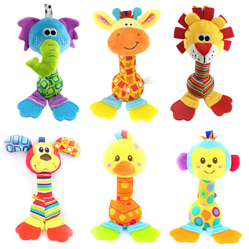 Baby Teethers With Animal Plush Toy Silicone Food Grade Teethers Stuffed Cartoon Toy For Car Bed Hanging Stroller Rattles Toys