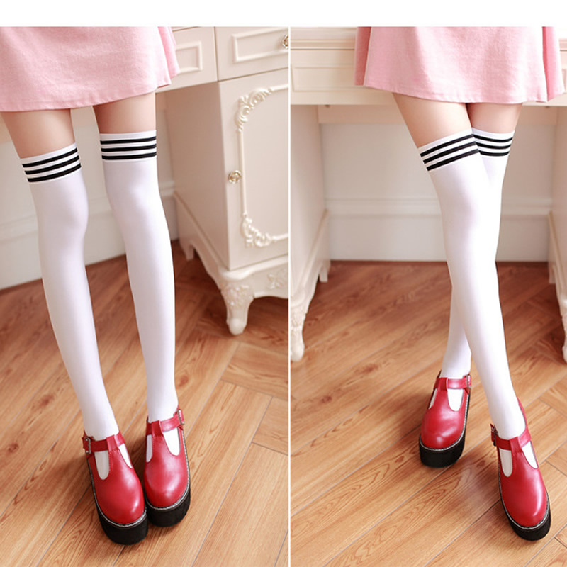 Nya sammet nylon kvinnor över knästrumpor solida ränder svarta - Underkläder - Foto 3