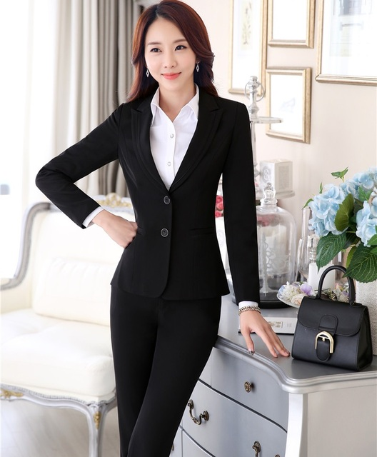 Plus Size 4XL Professional Formal Pantsuits With Jackets And Pants Autumn Winter Office Ladies Blazers Female Trousers Sets