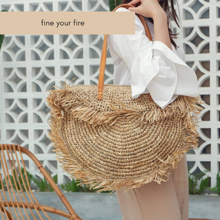 Bohemian Round Tassel Women Straw Bag Designer Spike Paper Rattan Shoulder Bags Large Casual Handbags Summer Beach Woven Purses