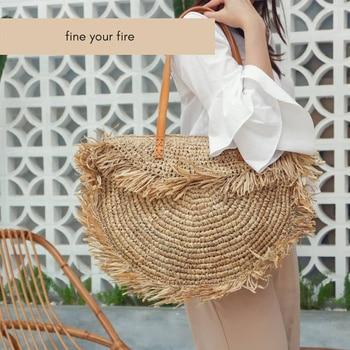 Bohemian Round Tassel Women Straw Bag Designer Spike Paper Rattan Shoulder Bags Large Casual Handbags Summer Beach Woven Purses