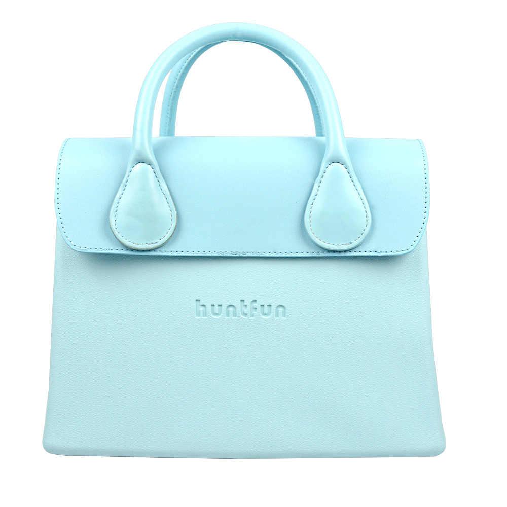 2019 nuevo bolso cuadrado de EVA hunfun con mango de cuero con solapa impermeable estilo O bolso para mujer O bolso de hombro bolsa