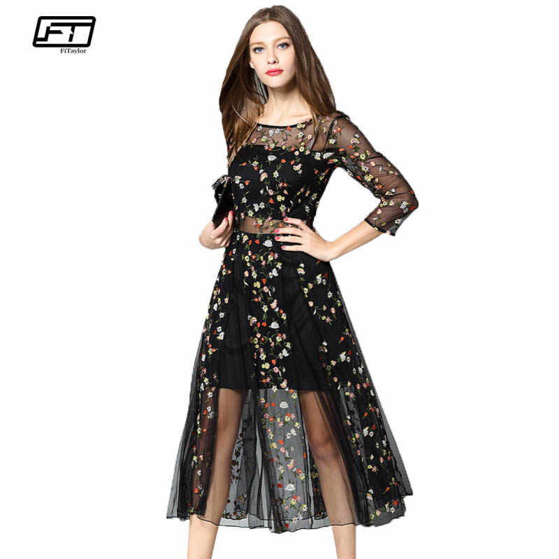 Fitaylor Summer Women Lace Dress Elegant Tulle Floral Print Embroidery Slim O  Neck High Waist Black 9f6cc134b64c
