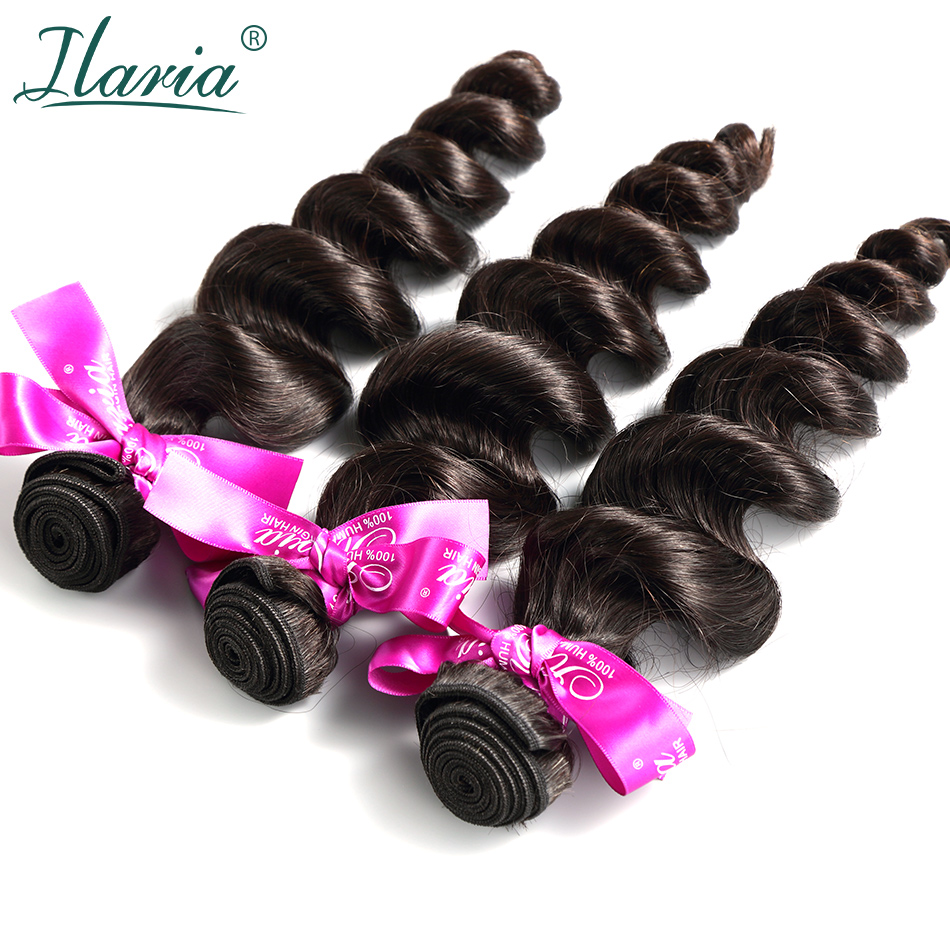 ILARIA HAIR Loose Wave Peruvian Remy Hair Bundles 100% Virgin Human Hair Weaves Bundle Weaving Natural Color 3 Full Bundle