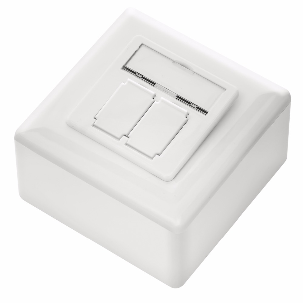 Network RJ45 Cat6 wall outlet 2 ports - incl. RJ45 to LSA modules & bottom wall box, angled ports, horizontal cable installation lsa profil 2 10