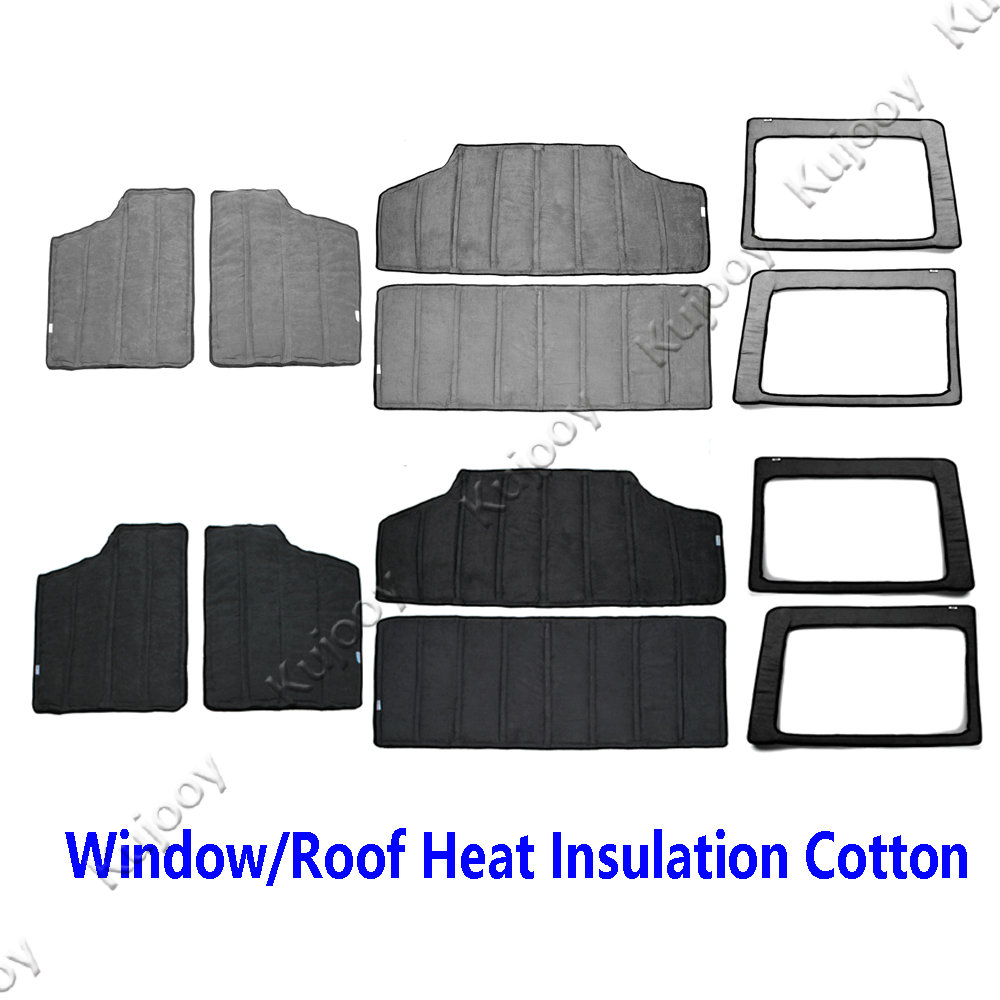 Black/Gray Car Interior Windows Roof Hardtop Heat Insulated Cotton Kit For Jeep Wrangler 4 Doors 2012 2016
