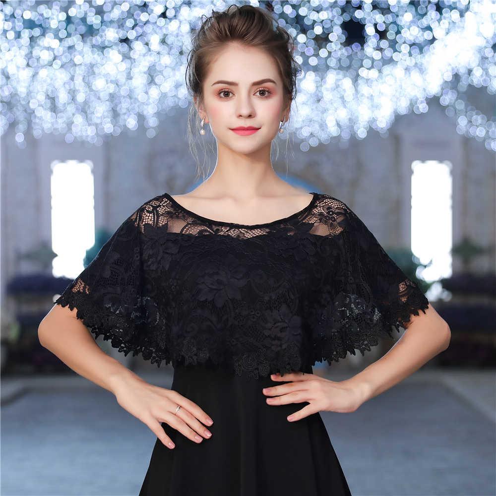 Black Lace Bolero Wraps Appliqued Edge Women Bridal Short Cape Female Shawl  Summer Autumn Sleeveless Jacket 4542c15dd4b5