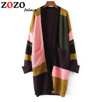 Falacs Zozo Women Autumn Winter Casual Fashion Office Lady Knitted Batwing Sleeve Pockets Patchwork Open Stitch