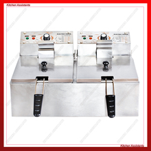 HY81 HY82 Electric Commerical Deep Oil Fryer Stainless Steel Chicken Chips Fish Potato Fried High Power 6 Liters 12