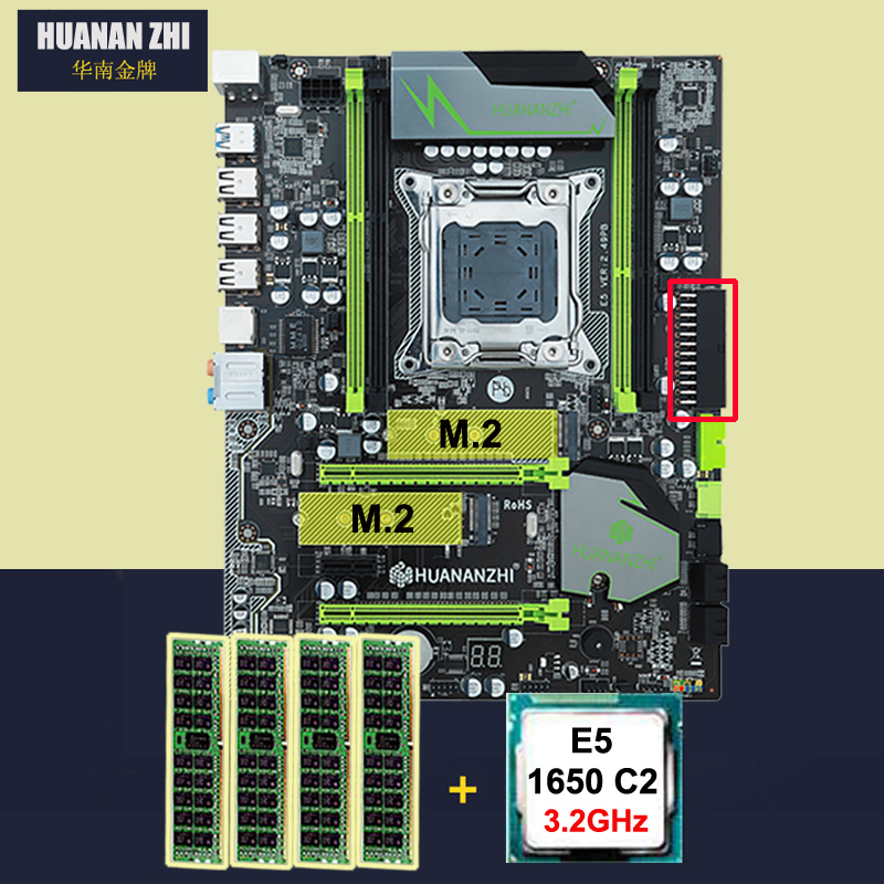 HUANAN ZHI X79 Motherboard With Dual M.2 Slot Discount Motherboard Bundle CPU Intel Xeon E5 1650 3.2GHz RAM 16G(4*4G) DDR3 RECC
