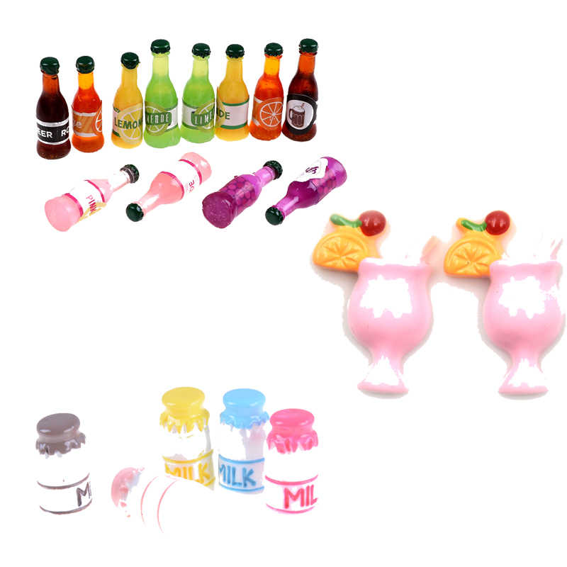 New Kids Gift Pretend Play Toy Mini Milk Wine Water Bottles Dollhouse Miniature Toy Doll Food Kitchen Living Room Accessories