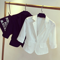 Ladies Summer Short Blazer Jacket 3/4 Sleeve Plus Size Lace Suit Blazer Office Wear Clothes S-3XL
