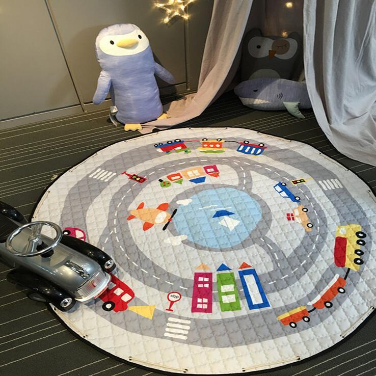 Kids Baby Play Mats Toys Storage Bag Round Carpet Rugs Large Canvas rawling Mat Carpet Portable