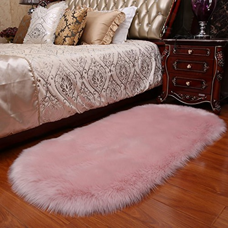 HUAHOO Faux Fur Sheepskin Rug Light Yellow Kids Carpet Soft Faux Sheepskin Chair Cover Home D/écor Accent for a Kids Room,Childrens Bedroom 10 x 12 Rectangle Living Room or Bath Nursery