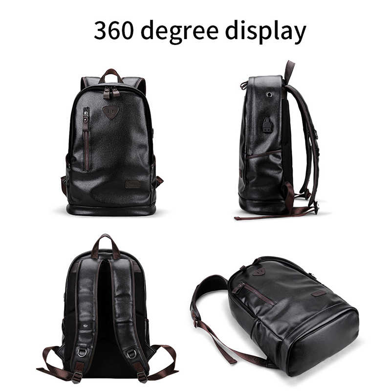 LIELANG bookbags mochila de cuero para hombre bolsas funcionales para hombre mochila impermeable PU bolsa de gran capacidad para hombres mochilas escolares mochila