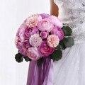 2016 Hermosas Flores Hechas A Mano Artificiales Rose Flores Detalles de Encaje de Perlas Nupcial de La Novia Ramos de Novia con Cinta SA890