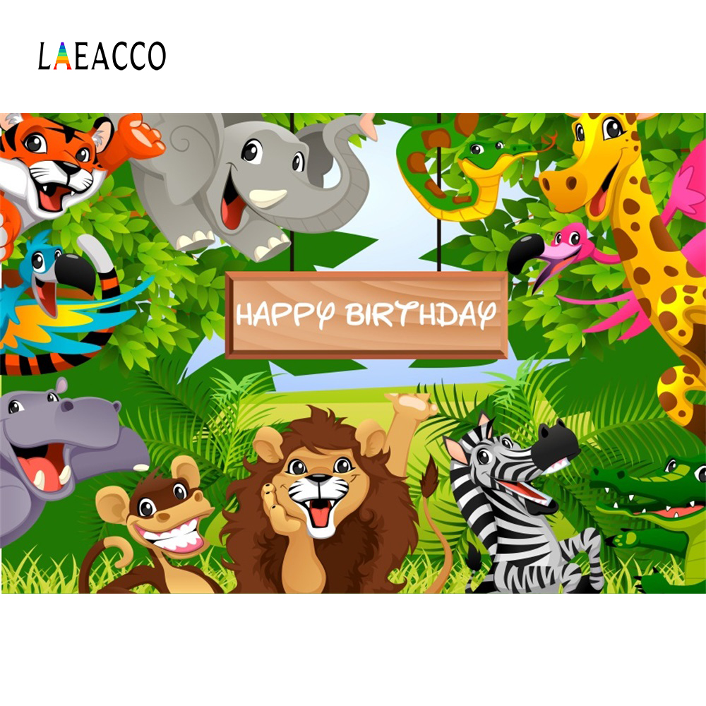 Jungel Safari Birthday Backgrounds Forest Baby Cartoon Party Poster Portrait Photography Backdrops Photocall Photo Studio