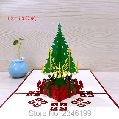 10pcslot greeting cards diy 3d christmas tree card easter day thanks cards paper handmade custom greeting cards - 3d Greeting Cards