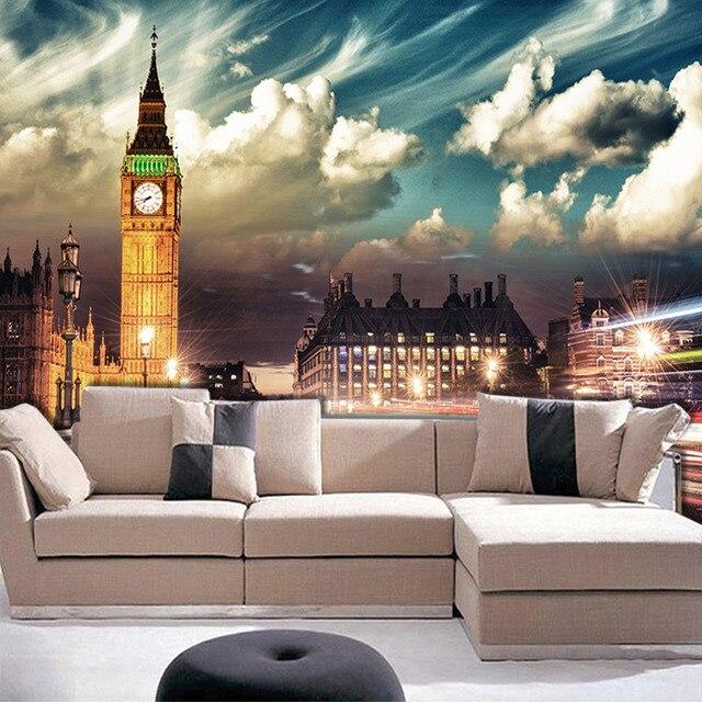 custom mural wallpaper london big ben city night wallpaper for bedroom living room tv sofa. Black Bedroom Furniture Sets. Home Design Ideas