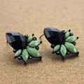 XQ XQ Free shipping fashion jewelry black Ms green flower banquet gold stud earrings