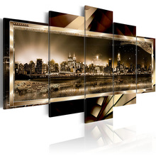 купить 5 pieces/set Abstract city night view Picture Print Painting On Canvas Wall Art Home Decor Living Room Canvas Art PJMT-B (214) онлайн