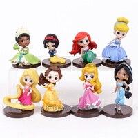 Q Posket Princesses Dolls Tiana Snow White Rapunzel Jasmine Ariel Cinderella Belle Aurore PVC Figures Girls