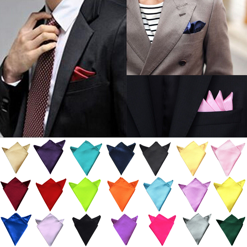 New Men's Hanky Satin Solid Handkerchief Plain Wedding Party Daily Suits Pocket Square Handkerchief
