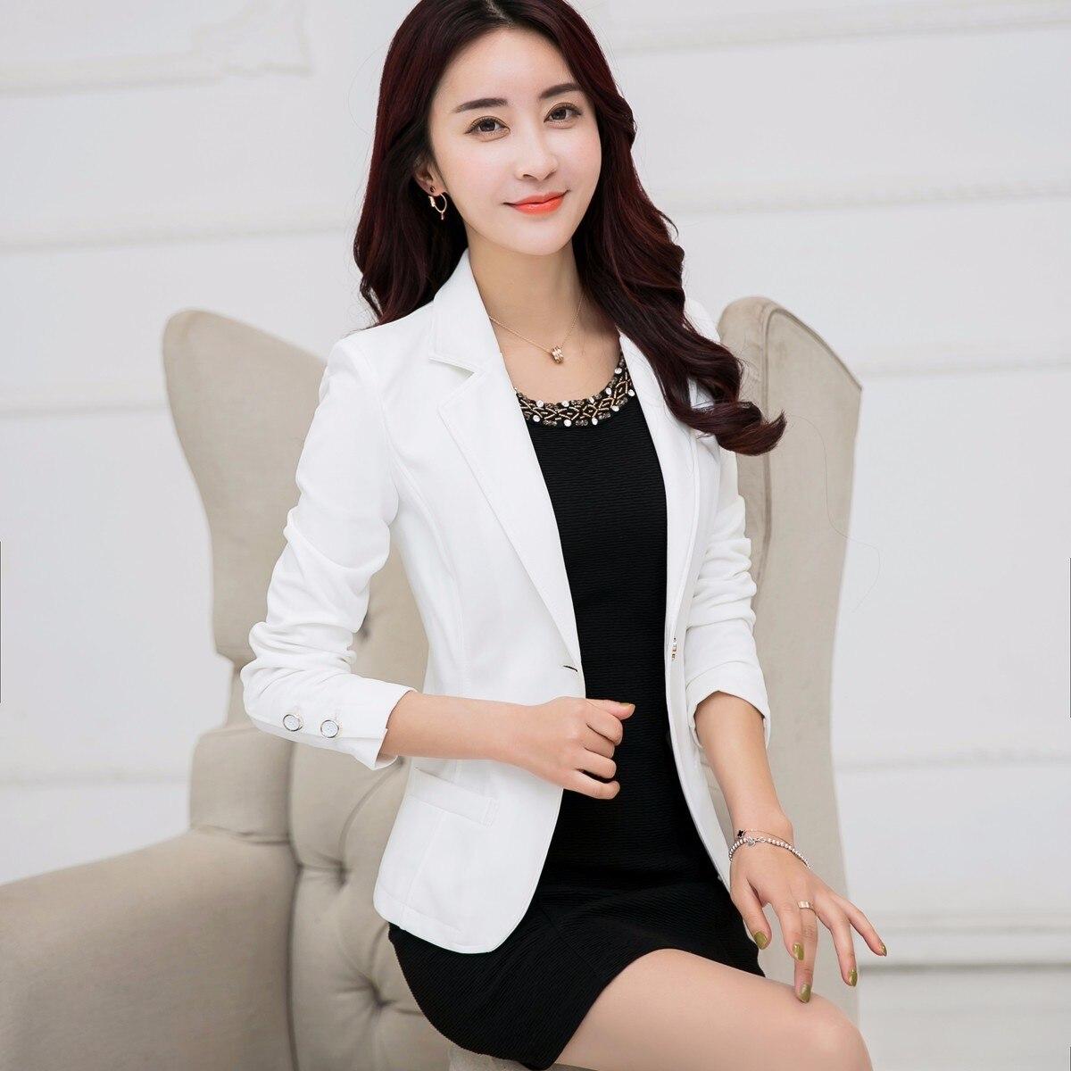 6 Clors New 2017 Autumn Women Single Button Blazers Jackets Notched Long Sleeve Suit Short Coat Female Outwear Plus Size 5XL