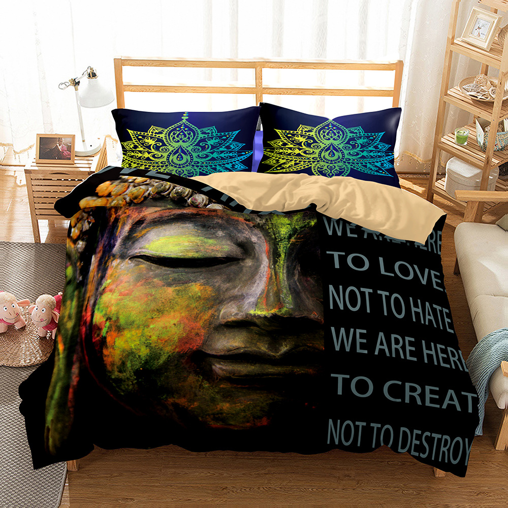 New 3D Buddha Statue Chinese God Classical Duvet Cover 2/3pcs European American Family student dormitory Quilt cover pillowcase