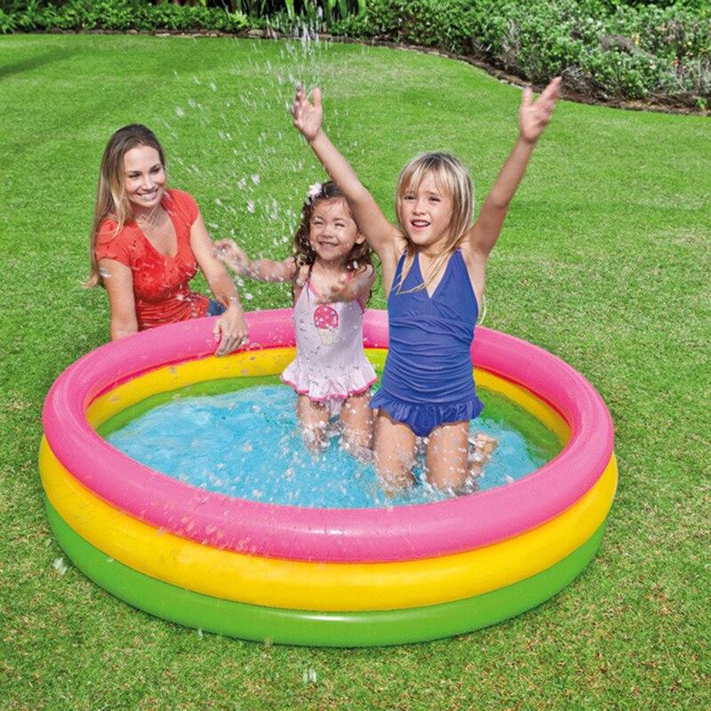 Trois couleurs trois anneaux famille jouer piscine piscine océan balle piscine facile à transporter intérieur et extérieur gonflable piscine